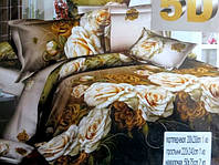 5D Постельное двуспальное белье сатиновое с розами