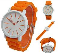 Женские часы GENEVA Женева с белым циферблатом, силиконовый браслет (оранжевый), часы женские наручные 2014