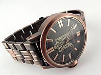 Часы стальные с Гербом Украины -  NEW DAY, медный цвет с черным циферблатом