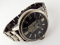 Часы стальные с Гербом Украины -  NEW DAY, бронзовый цвет с черным циферблатом