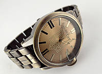 Часы стальные с Гербом Украины -  NEW DAY, бронзовый цвет