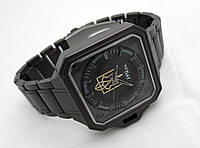 Часы стальные с Гербом Украины -  NEW DAY, черный цвет