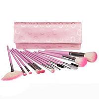 Набор натуральных кистей для макияжа 13 шт - Make Up Me B-13 Розовый