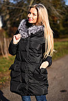 Х7066 Куртка-пальто пуховик зима с натуральной опушкой