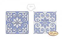 """Cхема на ткани для вышивки бисером Бискорню """"Голубая снежинка"""" В-005"""