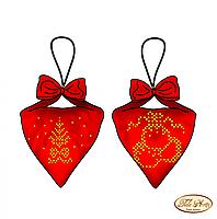 Cхема на ткани для вышивки бисером Пендибуль новогодний красный В-015