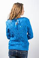 Кофта женская узор с бантом голубой р.46-48 AL112