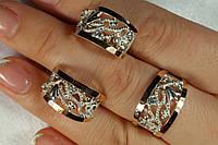 Красивый серебряный набор украшений с золотом и фианитами