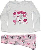 Пижама хлопковая с мишками для девочки, молочная с розовыми брючками, рост 116 см, Фламинго