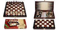 Шахматы 2068 туристические+Шашки+Нарды, коричневые 27х14х4см (король-55мм)