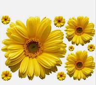 Наклейка виниловая Герберы жёлтые 3D декор