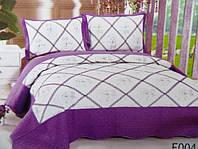 Стеганное покрывало на кровать двуспальное евро  Fashion бело-фиолетовое