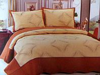Стеганное покрывало на кровать евро-размер бежевое  с коричневым