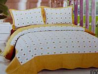 Стеганное покрывало на кровать евро Fashion  белое с желтым