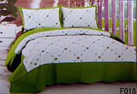 Стеганное покрывало на кровать евро-размер Fashion белое с салатовым