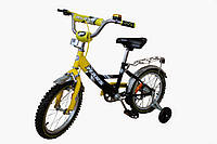 Детский велосипед с ручным тормозом и эксцентриком Марс 16  желтый / черный