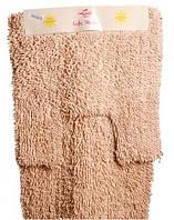 """Комплект ковров ванна + туалет """"Ежик"""" 100% хлопок производство Индия Бежевый"""