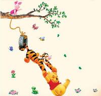 Наклейка виниловая Винни Пух, Пятачок и Тигр на ветке 3D декор