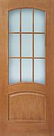 Деревянные межкомнатные шпонированные двери Капри ПО ДНТ (стекло кора бронза)