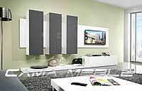 Мебельная стенка LIFE белый / серый глянец