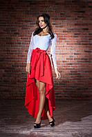Двухцветное асимметричное платье с бантом верх гипюр рукав длинный ткань габардин