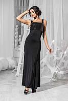 Элегантное женское платье с паетками длинное на бретелях кристалл