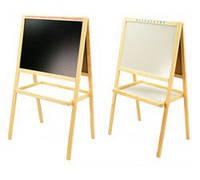 Доска для рисования, Мольберт деревянный двухсторонний 2в1 с магнитной доской