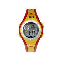 Спорт-часы электронные наручные водонепроницаемые, противоударные, секундомер, красно-жёлтые