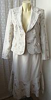 Костюм женский нарядный пиджак юбка весна лето р.48-50 4815