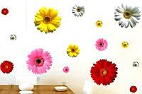 Наклейка виниловая Герберы разноцветные 3D декор