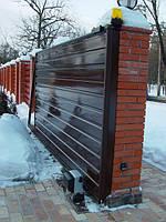 Откатные ворота. Зашивка — ПРОФНАСТИЛ (горизонтальное исполнение), Киев, купить.