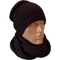 Мужская вязаная шапка-носок (утепленный вариант) объемной вязки и шарф-снуд