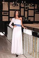 Неповторимое вечернее женское платье в пол расклешенное на одно плечо гипюр подкладка