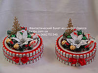 """Новогодний торт -шкатулка из киндер шоколадок """"Лакомка"""" (средний)"""