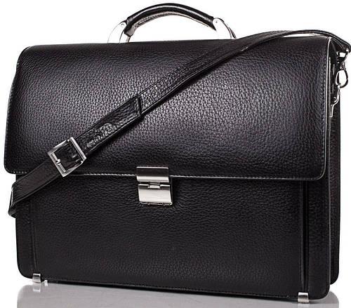 Кожаный мужской портфель DESISAN (ДЕСИСАН) SHI205-2FL черный