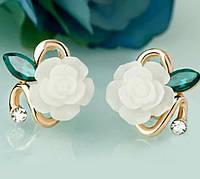 Нежность Розы позолоченные серьги с кристаллами Сваровски золото 750 проба