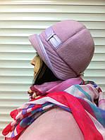 женская шляпка из шерстяного драпа с отделкой цвет розовый