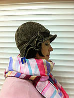 Бежевая шляпка из микровельвета  с рюшами