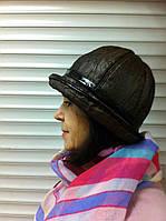 шляпка из жатой плащевки и микровельвета с рюшами цвет коричневый