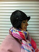 Женская текстильная мини шляпка черного цвета