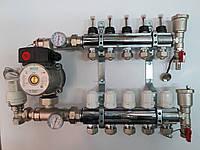 """Коллектор для теплого пола FADO 1""""x 7 в сборе с расходомером без насоса (KSF07) с одной сливной"""