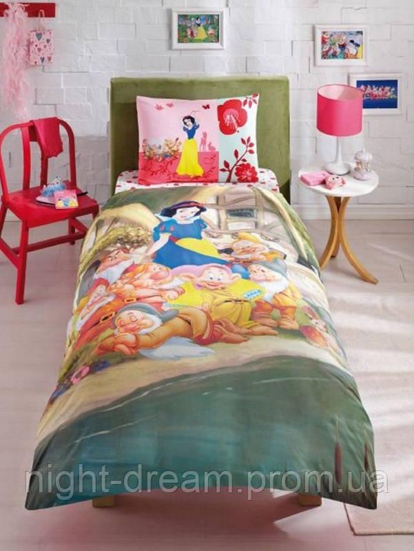 Подростковое постельное белье  DISNEY  от TAC Snow White Sweetest Белоснежка и гномы