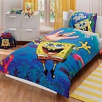 Подростковое постельное белье TAC  DISNEY простынь на резинке SPONGE BOB UNDERWATER