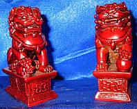 Собаки Фу храмовые львы пара каменная крошка коричневые (10,5х6,5х4,5 см)