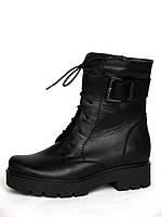 Женские кожаные ботинки Combat Boot с ремешком и пряжкой