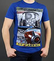 Синяя летняя мужская футболка