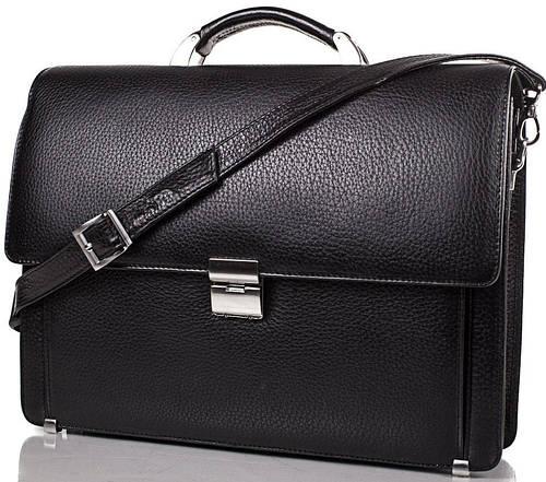 Черный кожаный мужской портфель DESISAN (ДЕСИСАН) SHI319-2FL