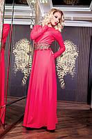 Элегантное вечернее платье с расклешенной юбкой в пол рукав длинный креп диагональ