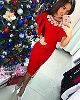 Стильное платье с воланами и жемчугом