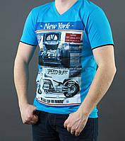 Мужская летняя футболка голубого цвета
